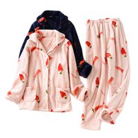 Flannel winter warm Couples sleepwear men women pajamas sets thicken warm coral velvet sweet strawberry pyjamas women