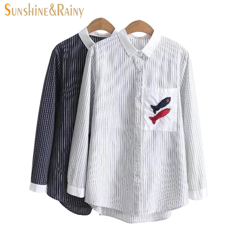 2018 New Striped Shirt Spring Female Stitching Turn-down Collar Pocket Small Fishes Embroidery Blouse Coat Loose Girl Tops