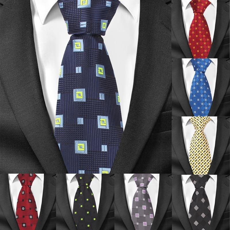 New Silk Men Ties Classic Business Necktie For Men Plaid Casual 8 Cm Width Mens Neck Tie For Wedding Cravats Groom Neckties