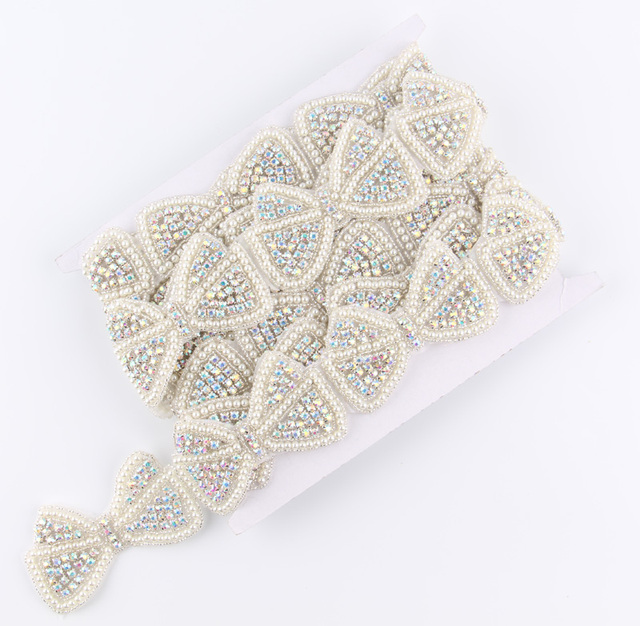 1Yard Newly Hot Pearl Bow Rhinestone Applique Patch Trim Hot-Fix Crystal  Pearl Applique Trimming 40561970f6cf