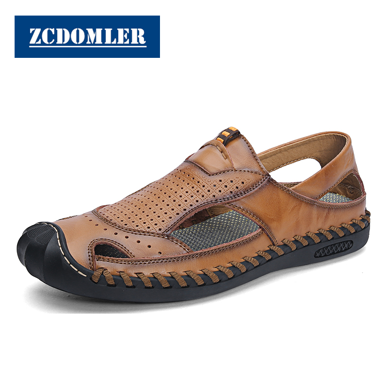 ZCDOMLER Handmade Summer Style Casual Shoes Men Beach Flat Sandals Genuine Leather Openwork Loafers Shoes Breathable MocassinZCDOMLER Handmade Summer Style Casual Shoes Men Beach Flat Sandals Genuine Leather Openwork Loafers Shoes Breathable Mocassin
