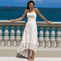 New Arrival Simple Strapless High Low Hem Asymmetrical Lace Wedding Dress Back Zipper Bridal Dresses Custom Made