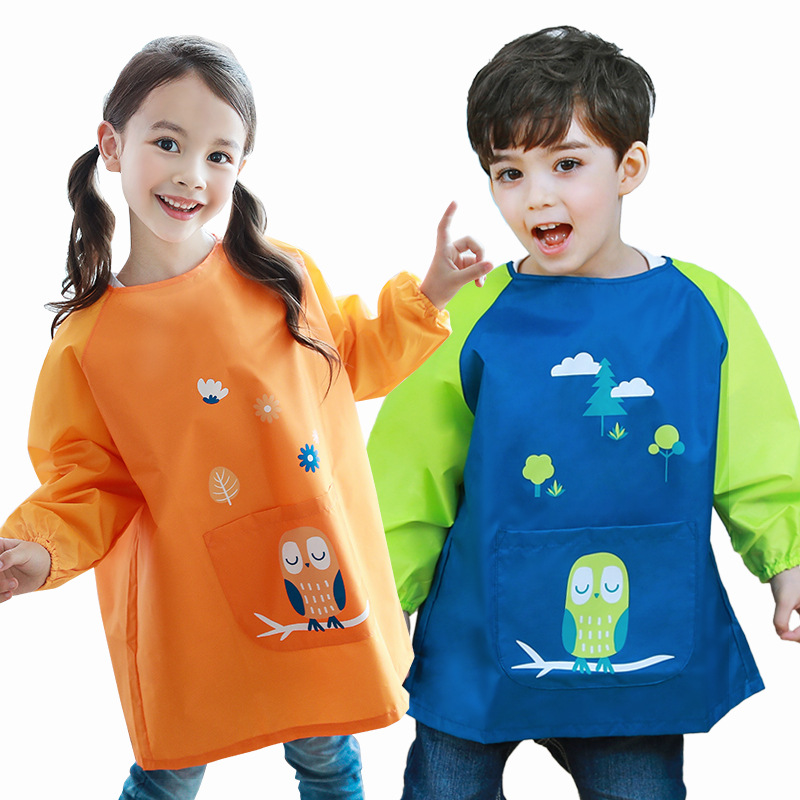 0-11 år Vanntett Baby Girl Boy Long Sleeve Cartoon Bibs Småbarn Spedbarn Burp Cloth Feeding Barn tegning og maleri Forkle