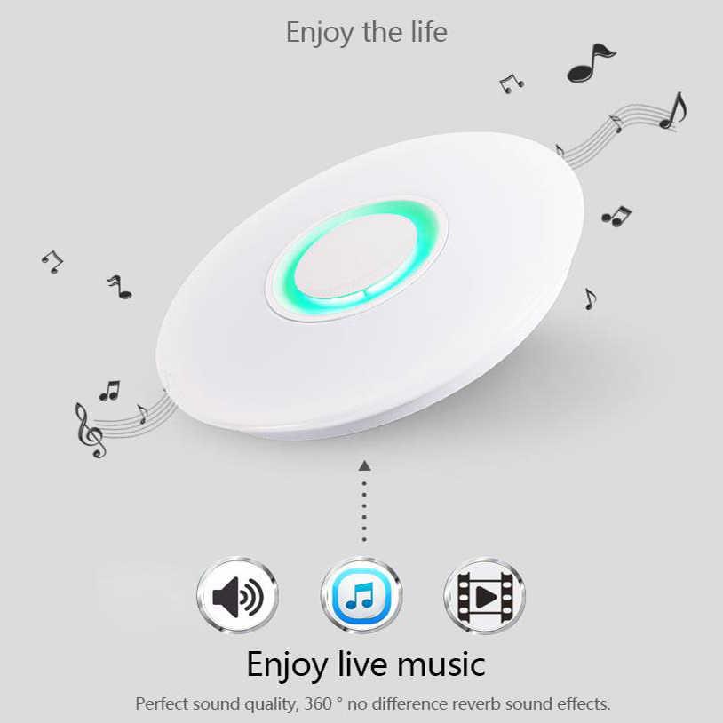 Цветная (RGB) Bluetooth светодиодный музыкальный потолочные светильники приложение Дистанционное Управление акриловая Светодиодная лампа с регулировкой освещения 110V 220V 24 Вт Lamparas De Techo светодиодный светильники