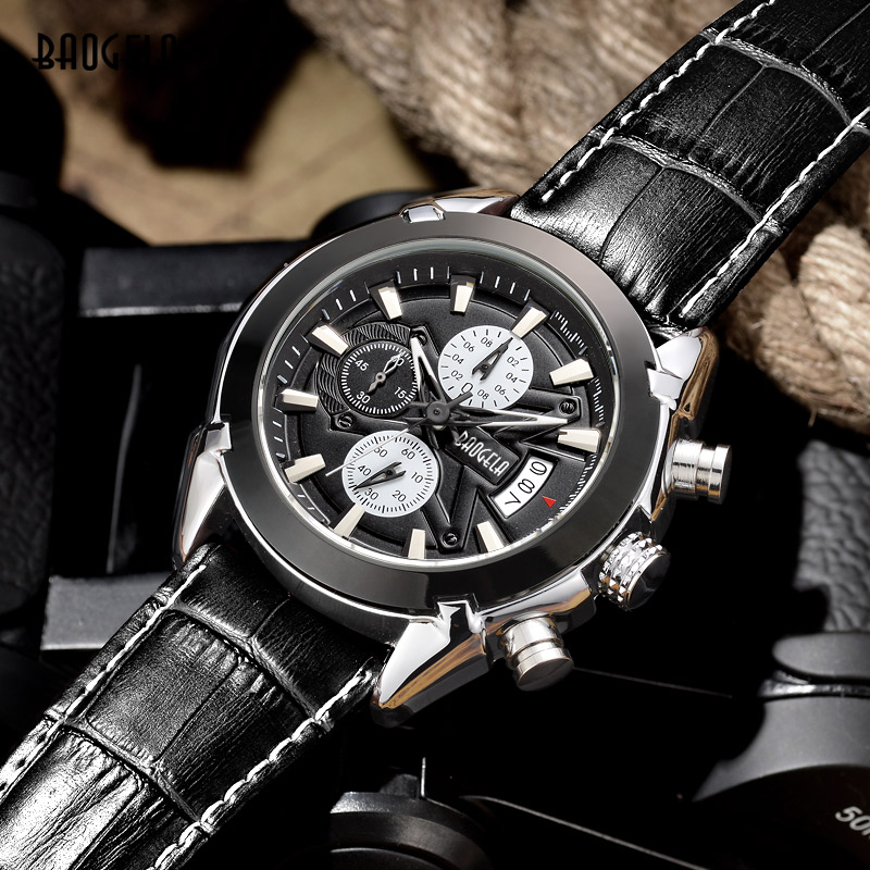 Baogela Fashion Leather Sports Quartz Watch For Man Mens Military Chronograph Luminous Wrist Watches Waterproof Army Style Hour 2016 hot sell sinobi brand leather strap watch for mens man fashion style quartz military waterproof wristwatch wholesale