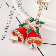 Fashion Crystal Rhinestone Jingle Bell Christmas Key Chains Rings Women Girls Bells Keychain Car Bags Xmas Gift