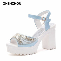 2016 New Wedge Thick With High Heel Sandals Female Xia Han Edition Platform Sequins Diamond Waterproof