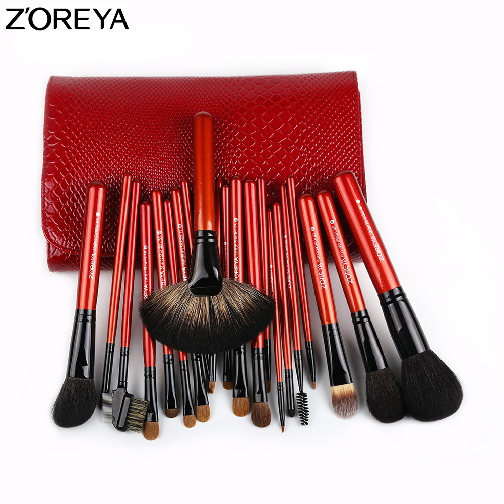 ZOREYA Makeup Brush Set 21pcs Sable Hair Fan Powder Foundation Eyeshadow Blending Lip Brushes Beauty Make Up Tool