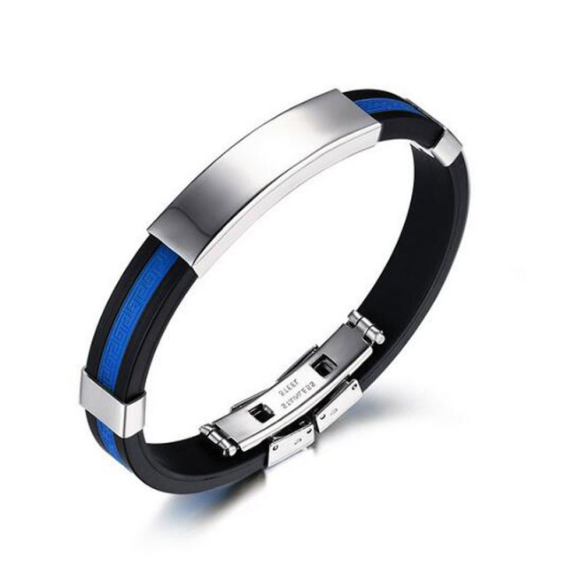Stainless Steel Bracelet Fashion Usa Police Policeman Blue Silicone Bracelets For Women Masculino Bangles Man