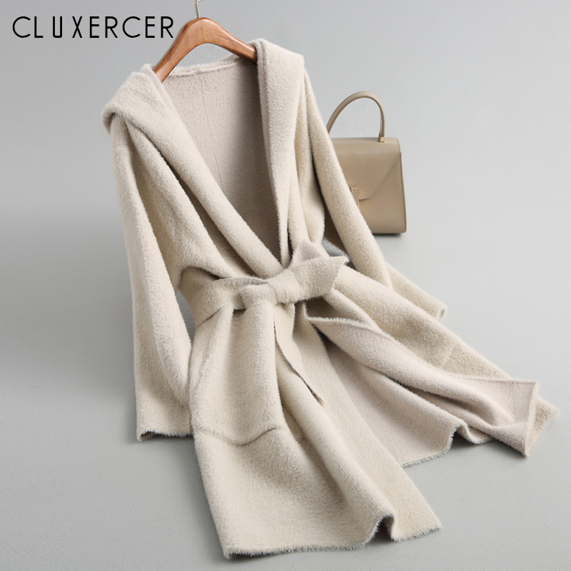 Korea Knitting Autumn Winter Women Coat 2018 New Long Hooded Slim Warm Trench Coat Casual Cardigan