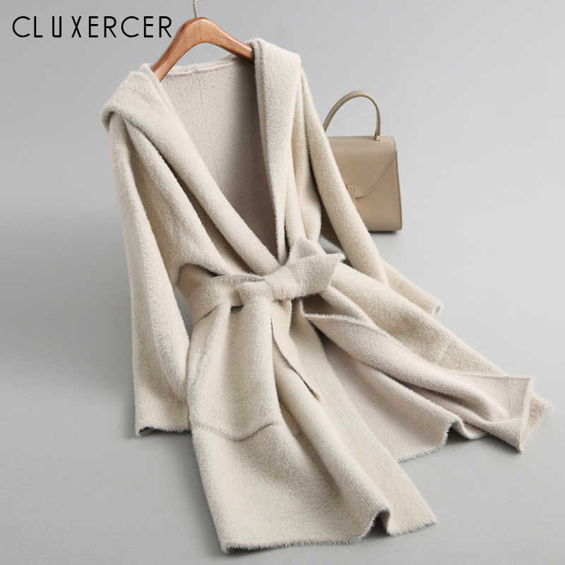 Korea Knitting Autumn Winter Women Coat 2018 New Long Hooded Slim Warm Trench Coat Casual Cardigan Windbreaker Outwear