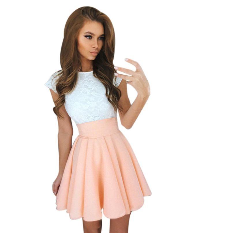 Lace Dress Beach Summer Women Cute 2017 Flare Dresses Mini A Line ...