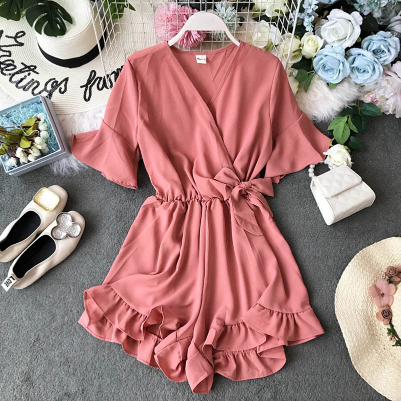 2019 new Sweet Ruffled Women Playsuits Elastic High Waist Bow Female Jumpsuit   Romper   Butterfly Sleeve Short Overalls for Girls
