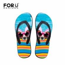 Forudesigns/летние женские для отдыха пляжные шлепанцы милые животные мопса печатных резиновые Тапочки женские легкие Мягкие Вьетнамки