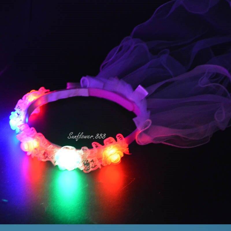 2018 LED Flashing Floral Flower Headband Veil Women Girls Light Up Headwear Women Girls Party Hair Accessories