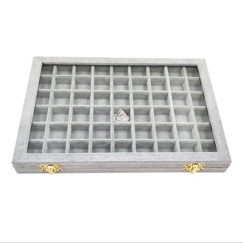310*220*28mm 8 Color 54 Booths Velvet Carrying Case Or Trays With Acrylic Cover For Jewelry The Tray Holder Storage Box Organize