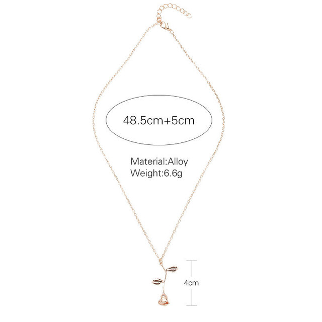 2018 New Pink Gold Rose Flower Statement Necklace Women Charm Maxi Choker Boho Valentine's Day Jewelry 5