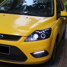 цена на 2Pcs LED Headlights For Ford FOCUS 2009-2014 led car lights Angel eyes xenon HID KIT Fog lights LED Daytime Running Lights