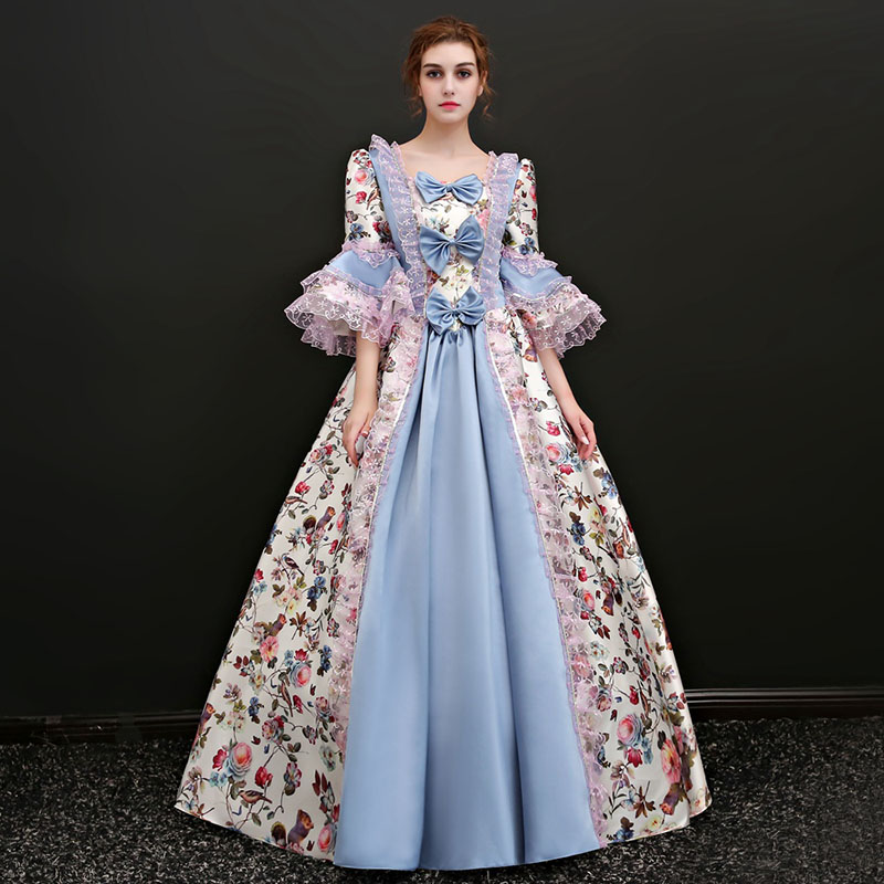 New Arrival Light Blue Square Collar Half Flare Sleeve Floral Printed Pattern European Court Marie Antoinette
