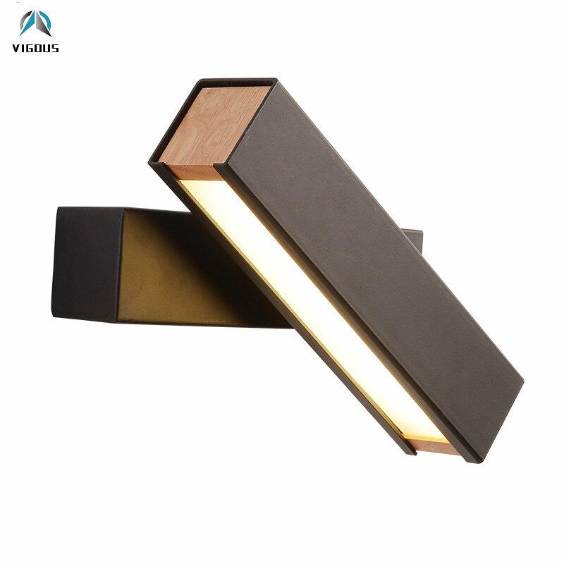 Işıklar ve Aydınlatma'ten LED İç Mekan Duvar Lambaları'de Modern Meşe Metal Cilası Luminaria Led duvar Lambası Siyah/Beyaz Minimalizm Led Dönebilen Duvar Sonces Koridor Braketi Işık