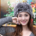 2016 New Natural Fur Hats Elastic Fashion Lady Winter Warm Hand Woven Fur Cap MZ010