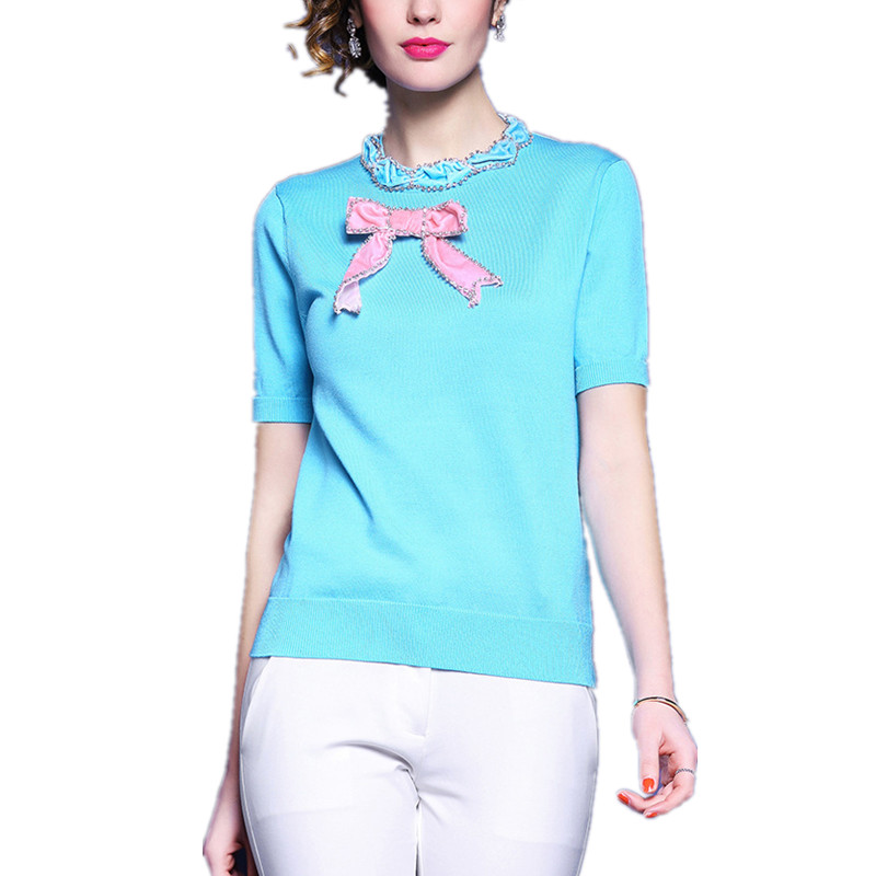 2018 Spring Summer Thin Knitwear Designer shirts for Women Short Sleeve Knitted Pullover Bow Beading female Sweater shirt Tops