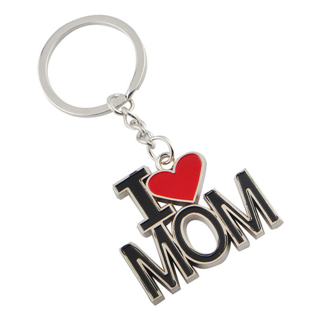 Letter I LOVE MOM Keychains Fashion Metal Key Rings Lovely Mothers Day Gift Souvenir Chain