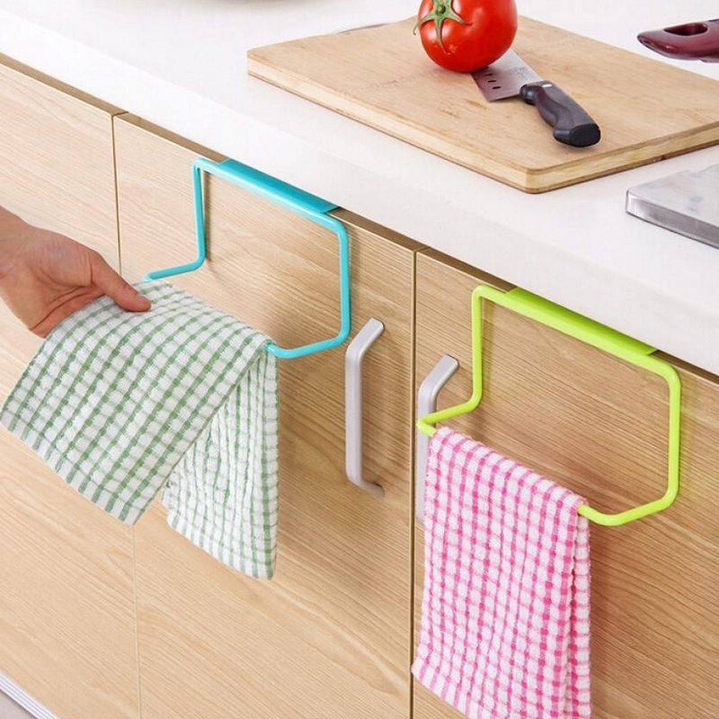 Kitchen Towel Hanging Rack  Plastic Non-Marking Rag Hanger Home Kitchen Bathroom Organizer Storage Racks Multifunction 1PCS