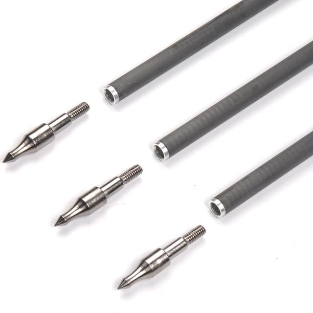 6/12/24 pièces 31.5 pouces carbone flèche colonne vertébrale 340 diamètre 7.6mm flèches remplaçables conseils pour arc classique tir à larc chasse tir