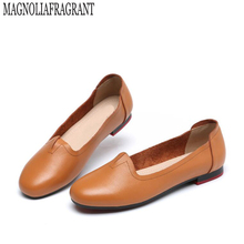 2017 nouveaux femmes en cuir véritable appartements chaussures femme casual femmes mocassins chaussures glisse en cuir grand-mère chaussures femmes de chaussures 18