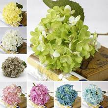 Moda 1 Bouquet Faux Flor De Seda Artificial Hydrangea Folhas Festa de Casamento Craft Decor(China)