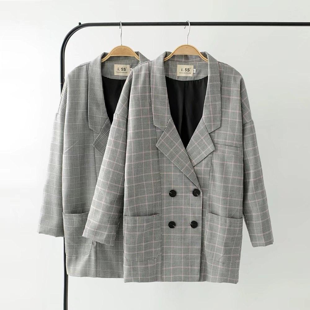2018 Printemps Automne Plaid Longue Blazer Femmes Blazer Croisé à Manches Longues Costume Veste Femme À Carreaux Occasionnels Costume Manteau Lâche