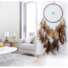 Large handmade charm dream catcher knit with feathers decoration for home decor