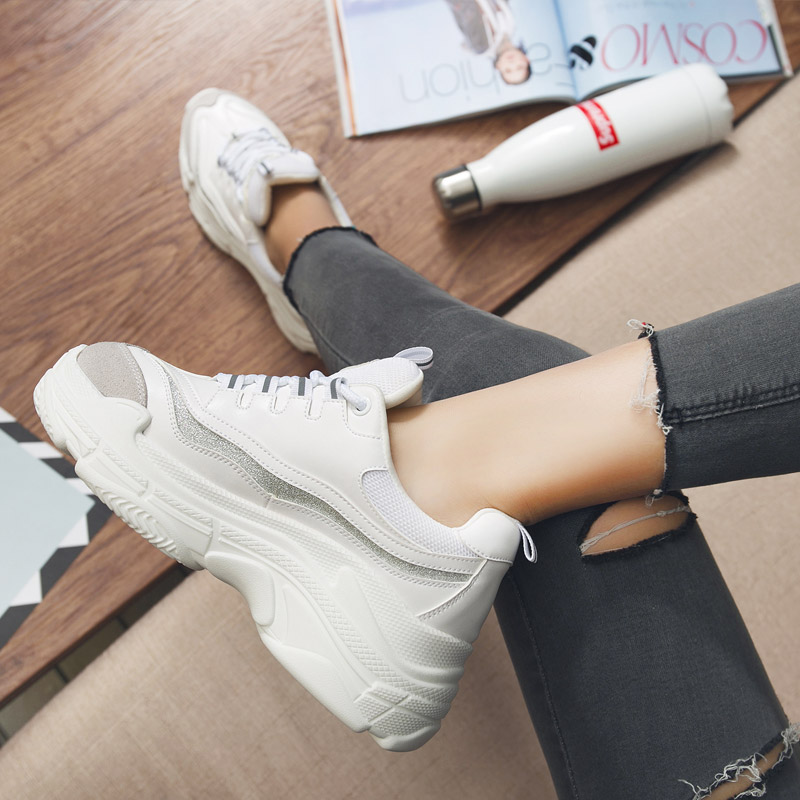 Smile Circle 2018 Spring Women Sneakers Shoes For Woman Fashion Lace-up Flat Platform Thick bottom Shoes White Casual Shoes