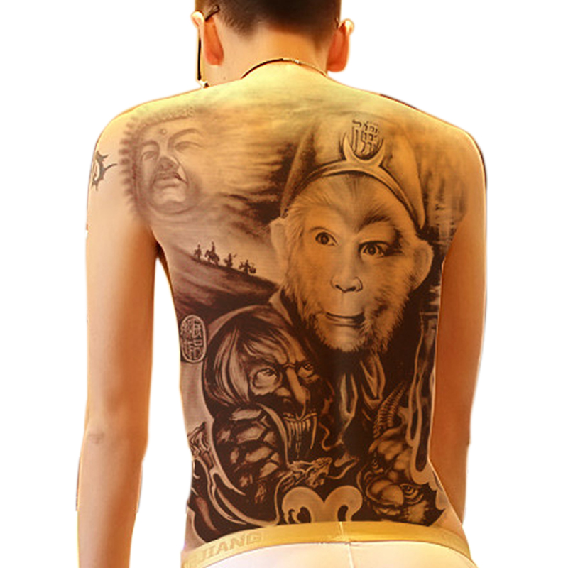 642ab6711 MANZILIN 1pc Sun Wukong Monkey King Designs Creative Fake Tattoos Large Whole  Back Domineering Body Art Temporary Tattoo WS03