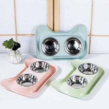 Durable Double Stainless Bowls  1