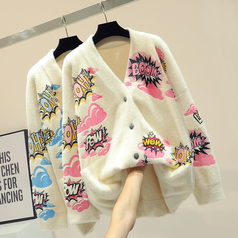 Korean Style Cardigan Sweater Female Chic Thickening Warm V neck Letter Jacquard Knitting Jacket Student Winter Loose Cardigans