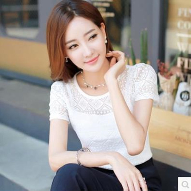 Ladies office Shirt Women White Lace Blouse Short Sleeve Plus Size Korean Crochet Hollow Out Tops Camisas Femininas Qz* 3
