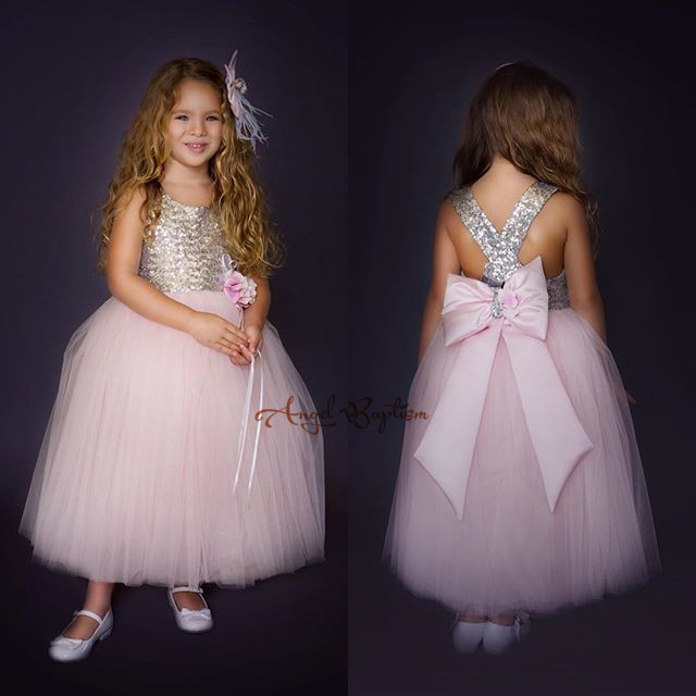 Фотография 2016 New Cute Golden sequined Flower Girl Dresses baby little girls ball gowns dresses with Big bow Criss-Cross Back