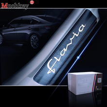 Car Door Sill Protector For LANCIA FLAVIA Accessories 4D Carbon Fiber Plate Scuff Protection Step Scratch stickers