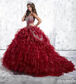 2016 cristais de luxo mangas red sweet 16 vestidos incrível vestido de baile borgonha Quinceanera vestidos masquerade pageant vestidos
