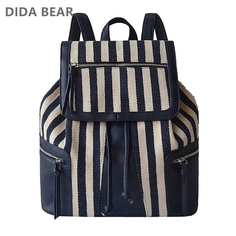 Dida Bear Women Canvas Backpacks Large School Backpack For Teenagers Girls Mochila Feminina  Boho Bohemia Exotic Travel Bag