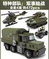 Jie estrella serie militar 472 unids DIY educativos plástico niños juguetes tanque helicóptero Building Block Sets