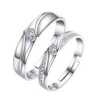 Jewelry Wholesale Japanese And Korean Style Couple's Ring Female Opening Ring a Cool Diamond Set Zircon Ring on Behalf