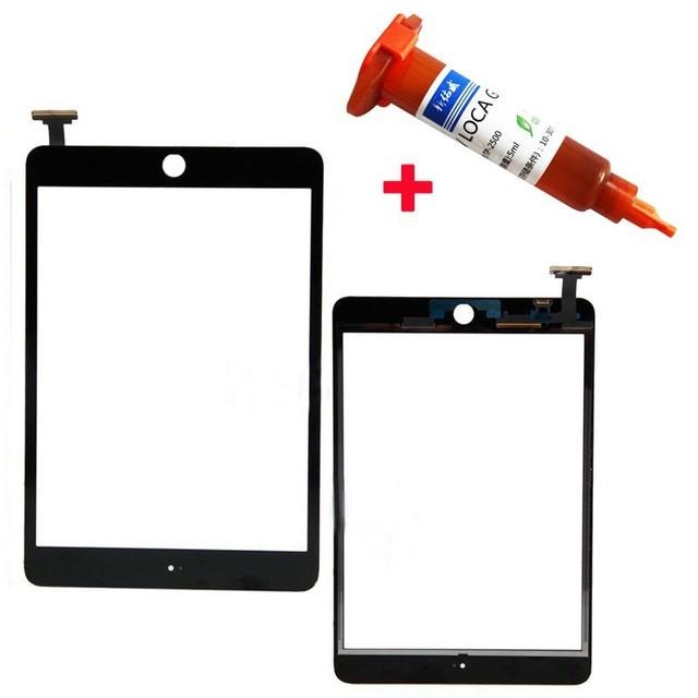 Para ipad mini 1/2 preto/branco da tela de toque digitador de vidro reparação parte substituição para apple mini 1/mini 2 + cola uv 5 ml