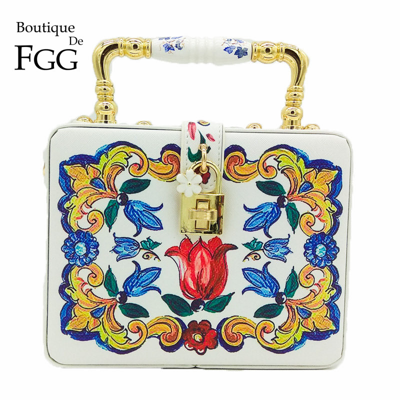 Boutique De FGG Ceramics Top Handbag Women Flower Tote Bag Box Clutch Shoulder And Crossbody Handbags Evening Cocktail Party Bag