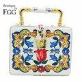 Женская Керамическая Сумка-тоут Boutique De FGG, сумка-клатч с цветами, сумка через плечо, вечерняя сумка для коктейвечерние