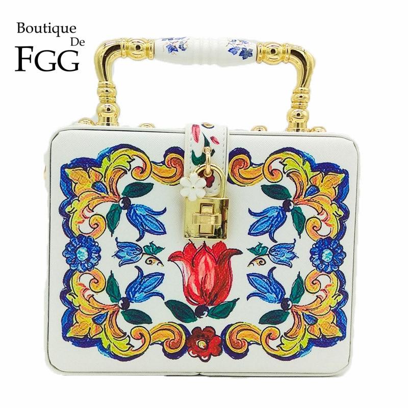 Boutique de Fgg Ombro e Crossbody Cerâmica Superior Bolsa Feminina Flor Tote Caixa Embreagem Bolsas Noite Cocktail Festa