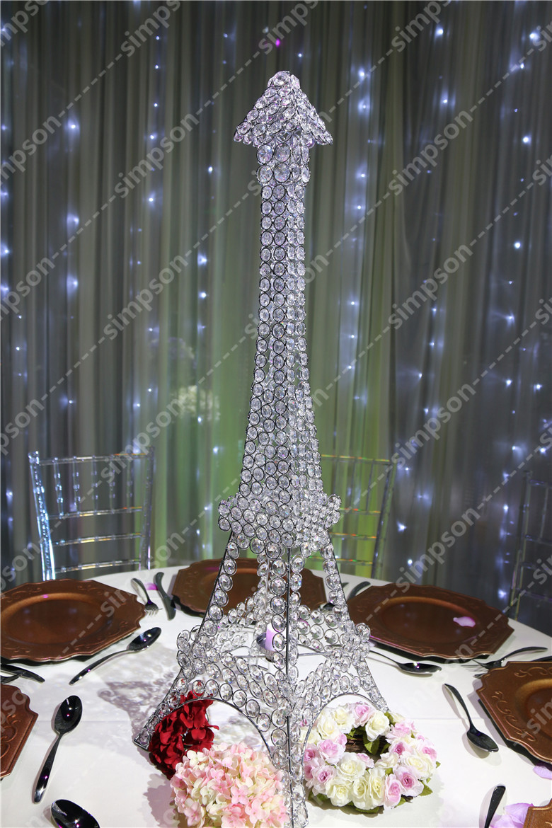 10pcs/lot Free shipment Candelabra centerpiece Eiffel Tower crystal ...
