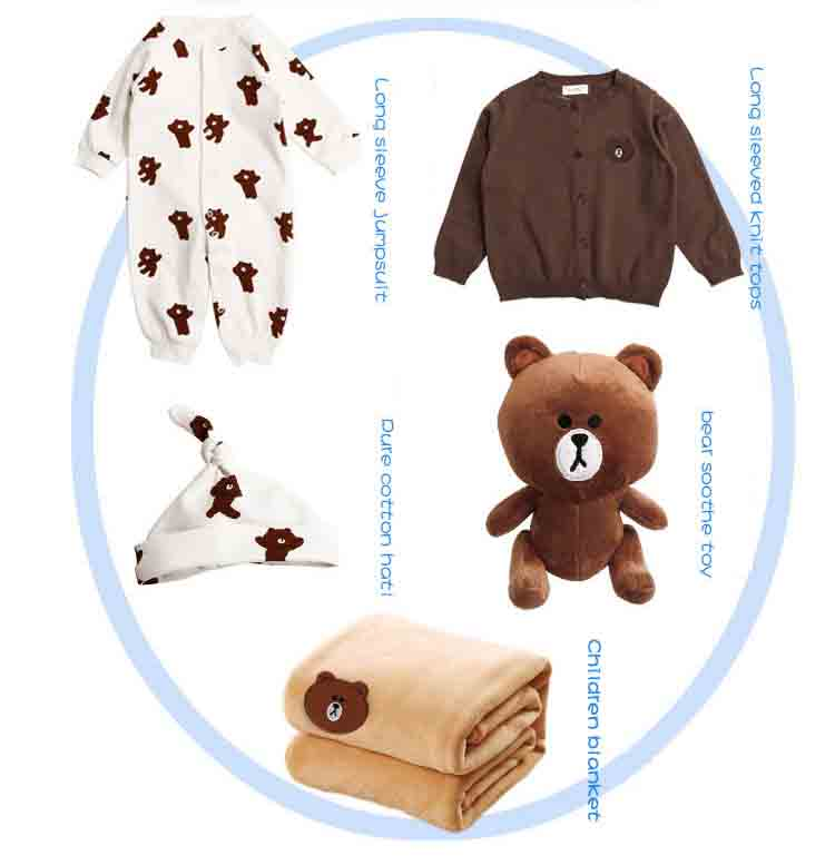 (5 pieces) Baby girls boy spring autumn sets wear long sleeve kids Bear toy clothing  BC506DSCS-73 [Eleven Story]